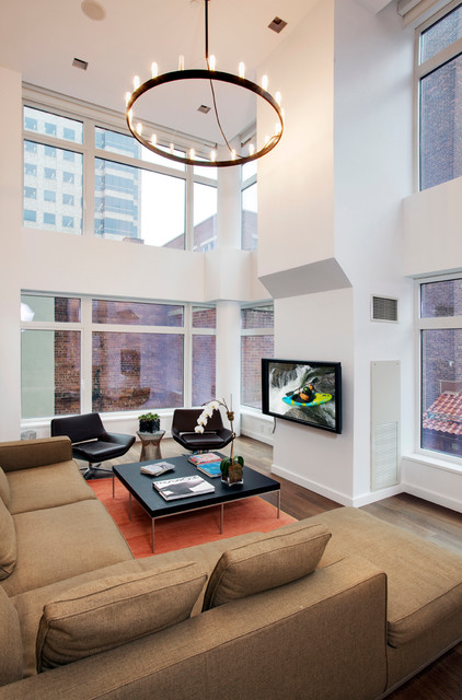 High Ceiling With Circular Chandelier Contemporary Living Room