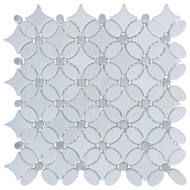 italian carrara white marble polished and floral design mosaic tile white samp