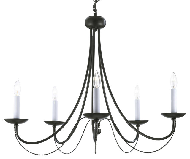 Versailles Wrought Iron 5 Light Chandelier Black Transitional Chandeliers