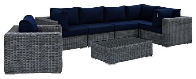 modern urban outdoor patio 7 piece sectional sofa set navy blue rattan
