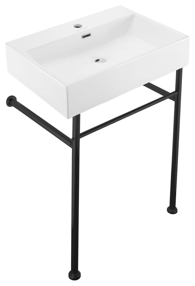 claire 24 console sink white basin black legs