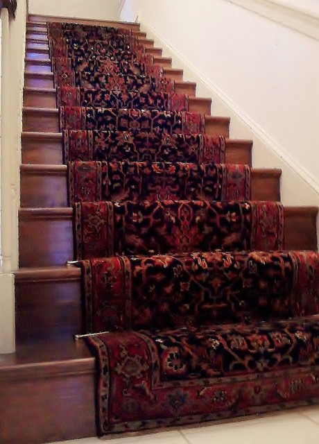 Traditional Hand Knotted Stairway Runner Installation