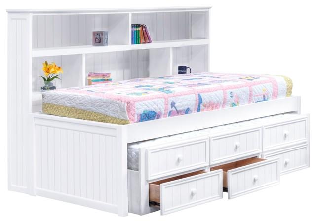 Natasha Twin Size Bookcase Captain S Bed White Transitional Loft Beds