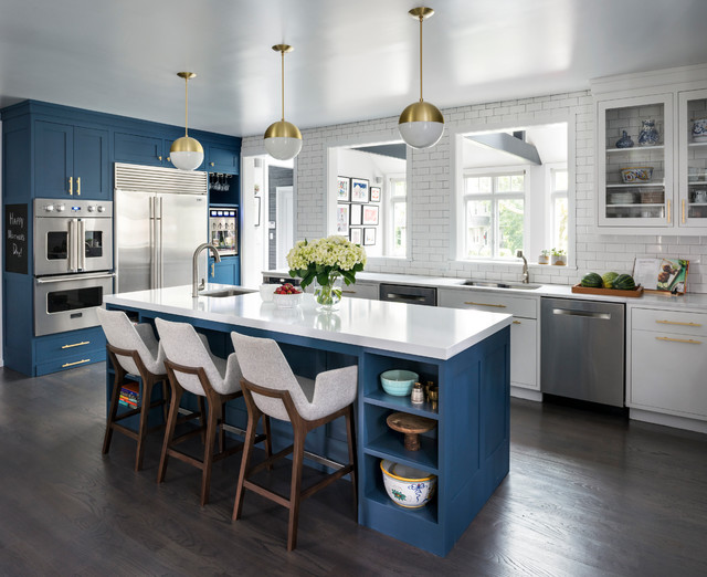 Deep Blue Kitchen Larchmont Manor transitional-kitchen