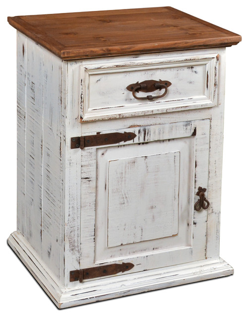rustic solid wood distressed white nightstand