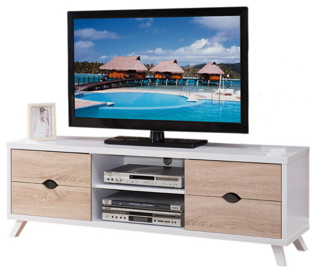 modern home tv entertainment black dark taupe table stand