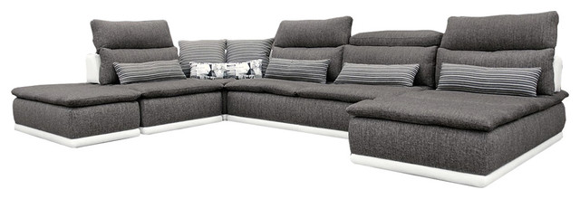 soflex lexington modern italian white leather grey fabric sectional sofa left