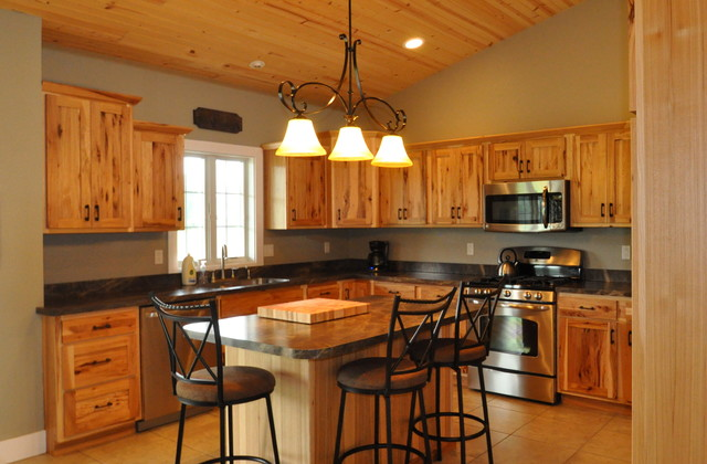 Country Style Rustic Hickory Farmhouse Kitchen