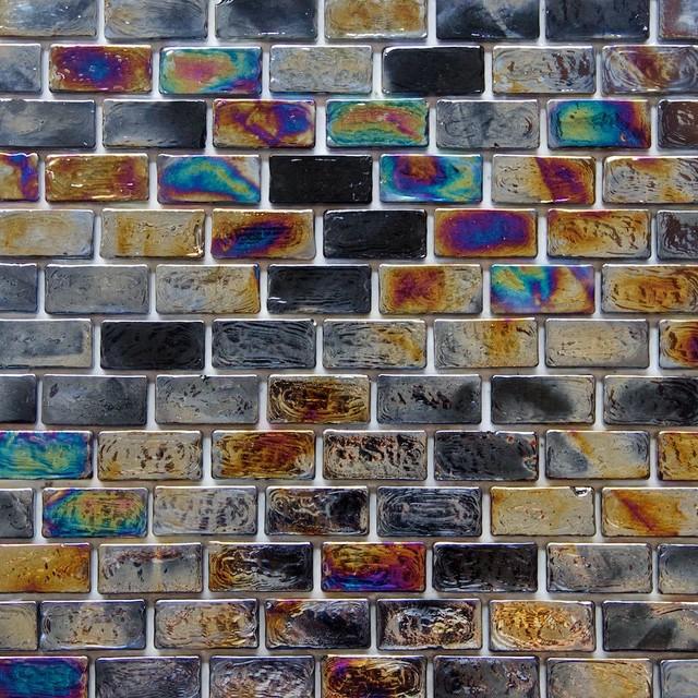 iridescent brick glass mosaic tile sample black