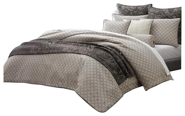 aico bedding paragon 10 piece king comforter set taupe