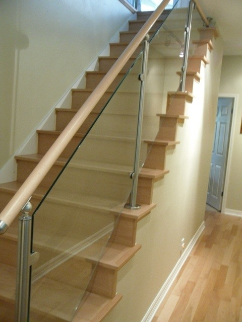 Wood Stairs And Stainless Steel Glass Railings | Metal And Glass Staircase