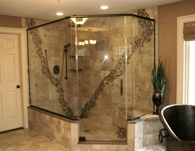 Rustic Pebbled Shower Contemporary Bathroom