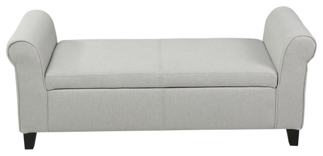 Gdf Studio Hayes Contemporary Fabric Upholstered Storage Ottoman Bench With Roll Transitional Accent And Storage Benches By Gdfstudio