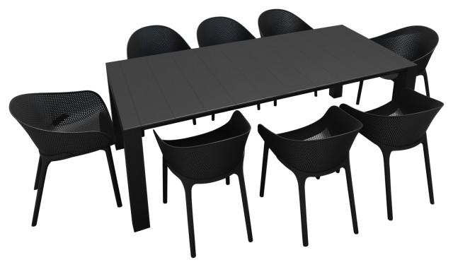 compamia sky extendable 9 piece dining set black