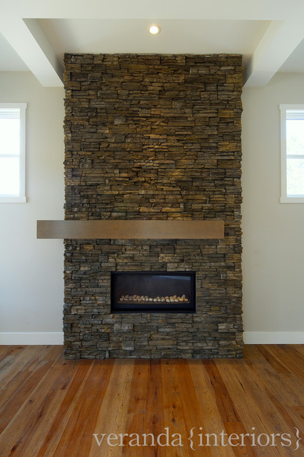 Stone Fireplace With Off Set Mantle Contemporary