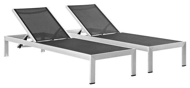 modern contemporary urban outdoor patio chaise lounge chair black aluminum