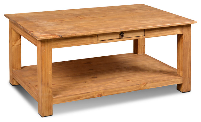 rustic solid pine wood 1 drawer coffee table with natural finish