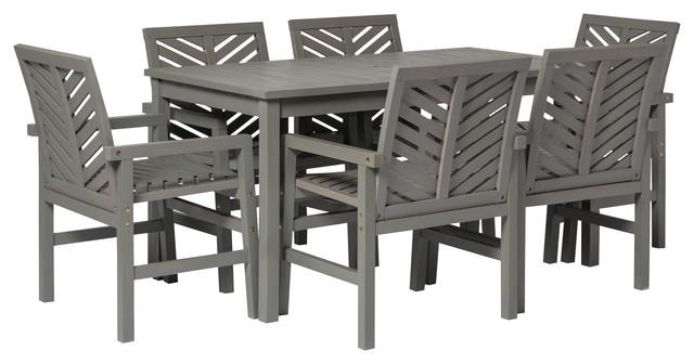 7 piece chevron outdoor patio dining set gray wash