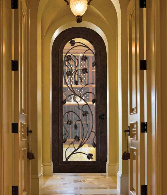 Forged Iron Doors Mediterranean Wine Cellar Tampa