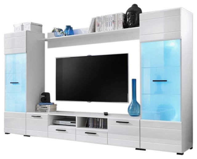 Modern Entertainment Center Wall Unit With 15 Colors LED