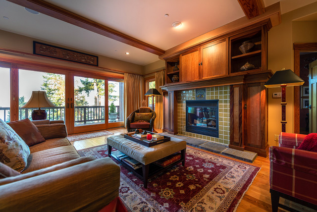 Rookwood Tile Fireplace Craftsman Living Room