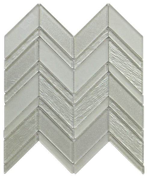 metallic silver chevron style glass mosaic 12 x12 set of 10