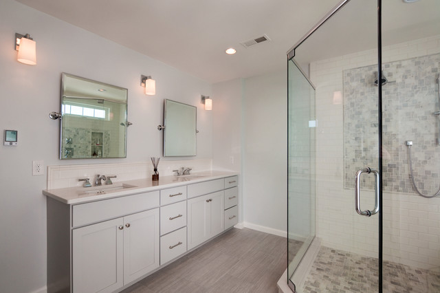 narrow depth double vanity - transitional - bathroom