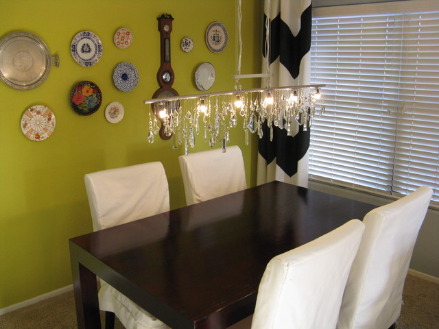 Vintage Crystal Diy Linear Chandelier With Plate Wall Eclectic Dining Room
