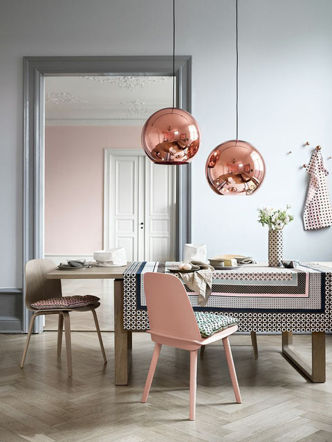 Copper/Bronze Globe Pendant Lights contemporary-dining-room