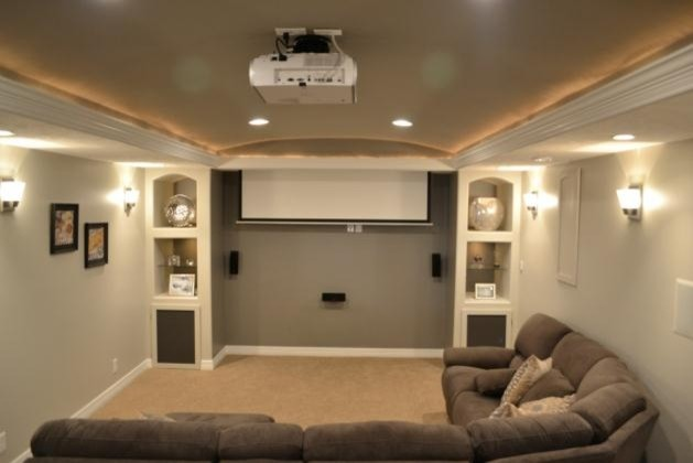 Custom Basement With Barreled Ceiling Traditional