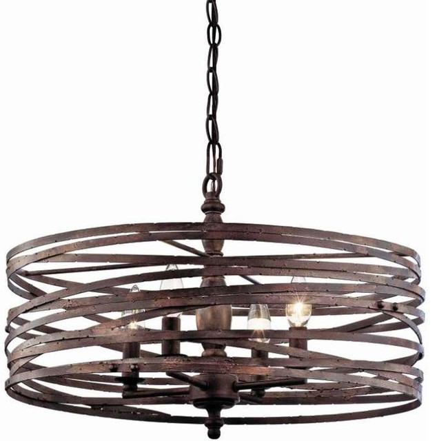 Pasco 4 Light Strap Cage Chandelier Weathered Iron Rustic Chandeliers