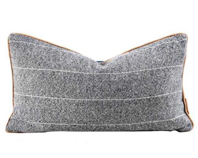 the sandy lyle grey wool large lumbar pillow