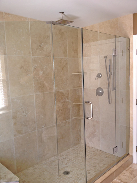 Light Walnut Tumbled Shower Contemporary Bathroom