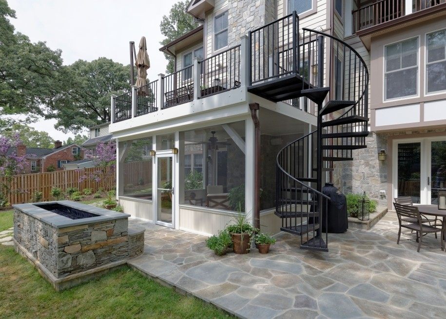 Arlington Deck With Screen Porch Spiral Staircase Traditional   Spiral Stairs Off Deck   Railing   Wood Deck   Metal   Stair Case   Stairway
