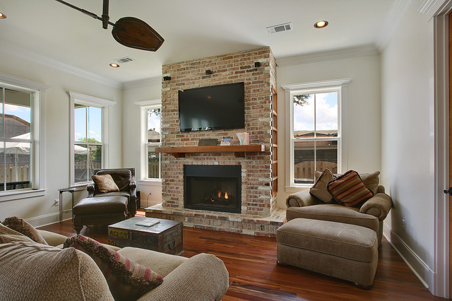 Living Room With Media Hub Faux Fireplace Traditional