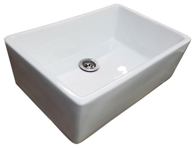 24 white fireclay farmhouse apron studio bathroom sink with drain kit