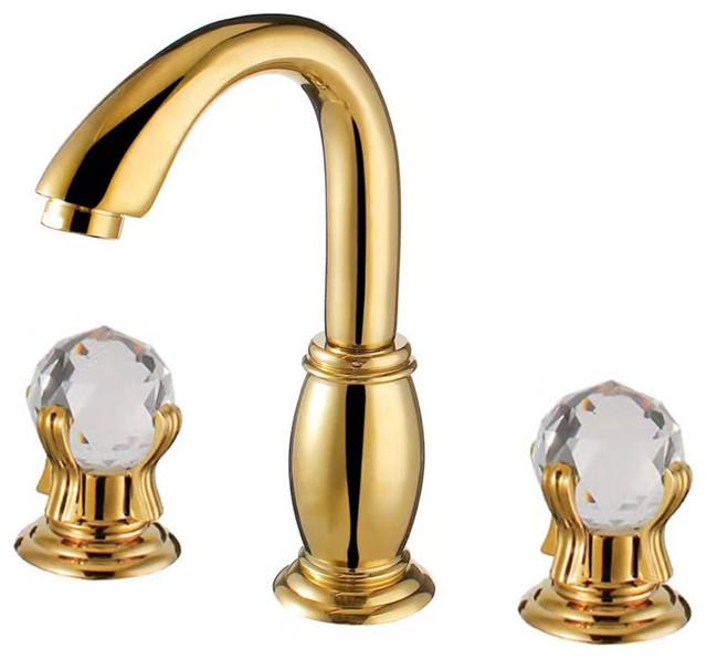 savona dual handle gold bathroom faucet with hot cold mixer