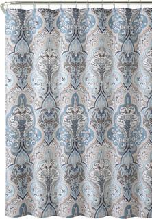 calais blue brown white damask dobby fabric shower curtain mediterranean shower curtains by curtain call houzz