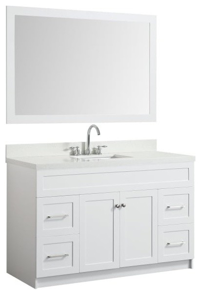 55 bath vanity white with quartz vanity top white with white basin mirror