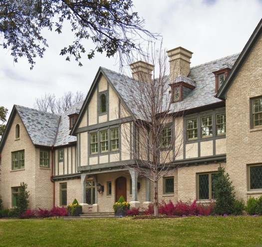 Example Of A Classic Brick Gable Roof Design In Dallas