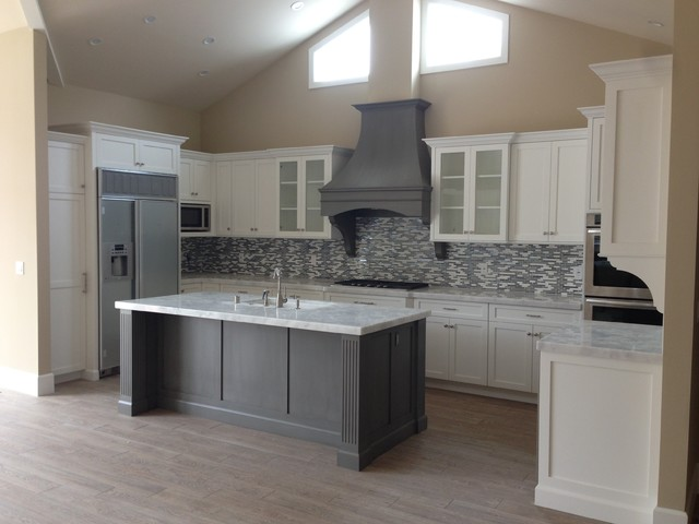 White Kitchen Gray Island