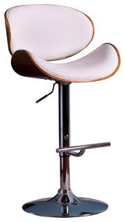 Modern Adjustable Swivel Barstool, White