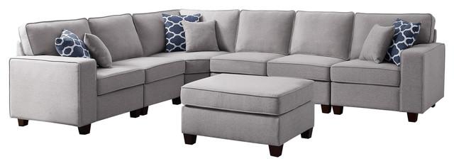 casanova 7pc modular sectional sofa ottoman in light gray linen