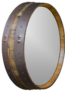 Napa Valley Hammered Copper Wine Barrel Mirror