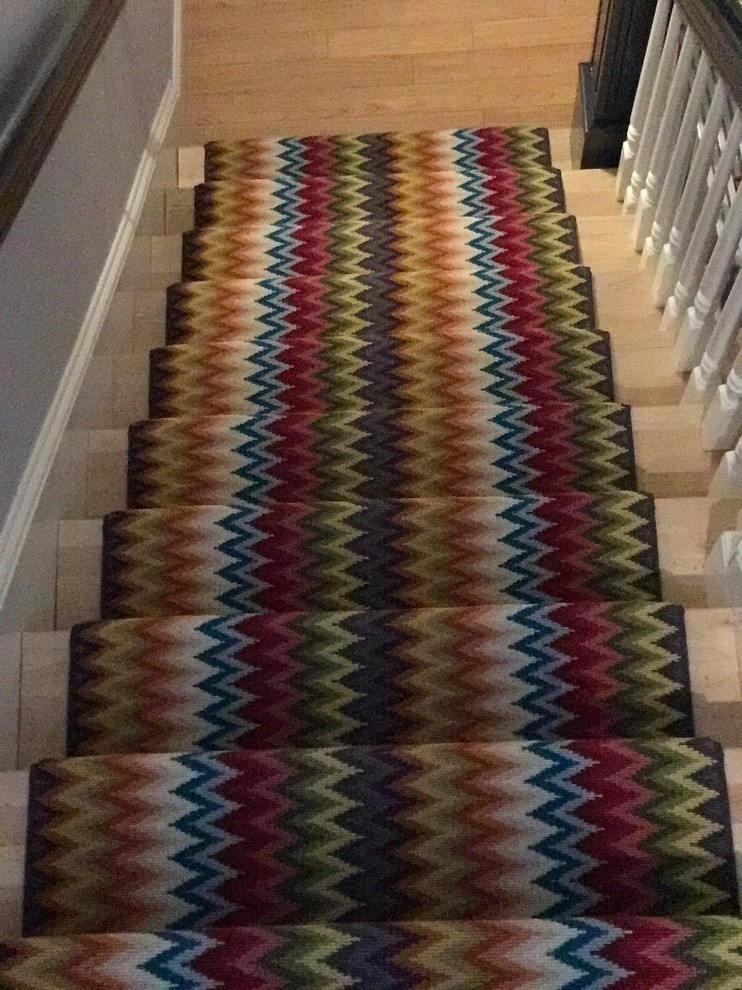 Rainbow Zig Zag Stair Runner The Carpet Workroom | Zig Zag Carpet On Stairs | Mohawk Patterned Carpet | Stair Triangular Landing | Before And After | American Style | Silver Grey