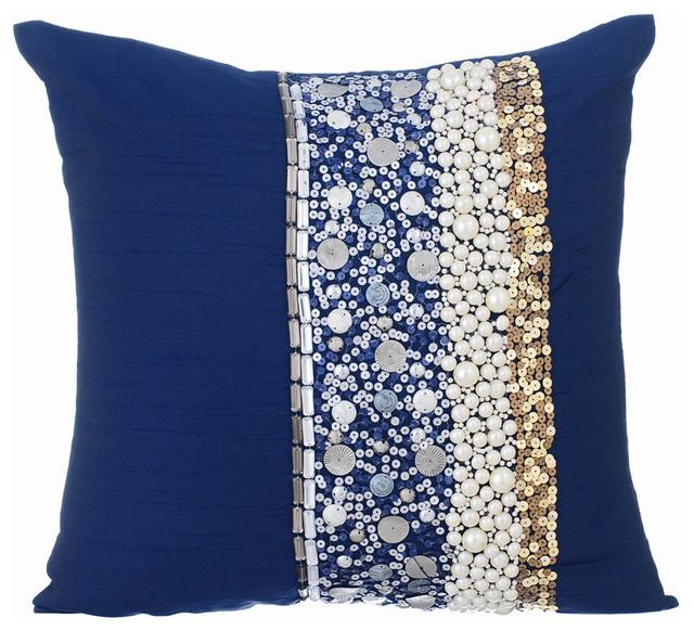 3d sequins 16 x16 silk navy blue pillows cover ornamental glory