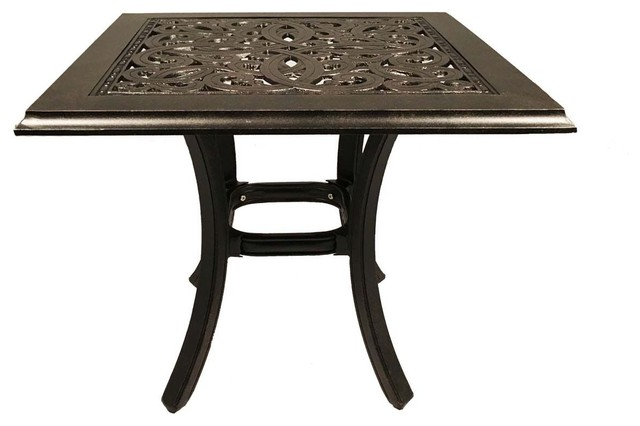 patio end table square 24 outdoor cast aluminum accent pool side furniture