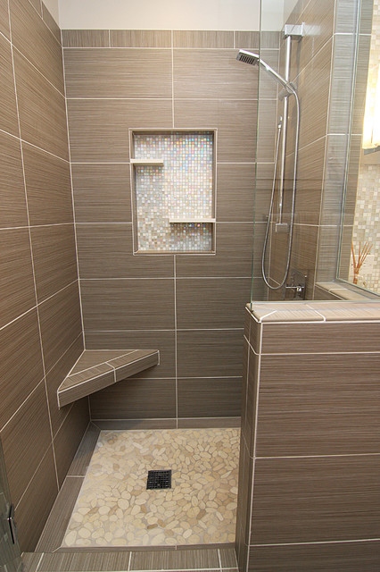 Shower With Gray Tile Bench And Beachstone Floor