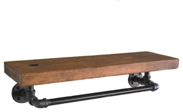 yellowstone industrial towel bar with rustic wood shelf farmhouse shelf 24 wx