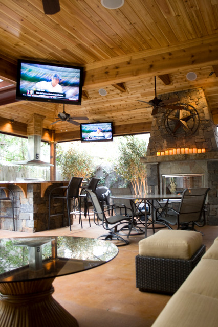 Outdoor Living Spaces Rustic Patio Houston By Wood